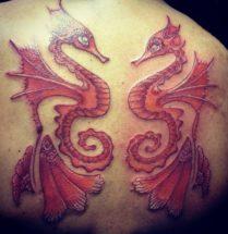 tatoeage van twee rode zeepaardjes