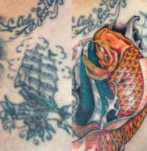 cover van een oude tatoeage door een japanse koi karper