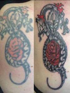 Coverup van een oude tatoeage waarbij alles opnieuw is vormgegeven en ingekleurd
