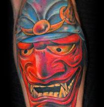 rode japanse tatoeage geplaatst op de bovenarm door Dutchink