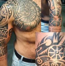 polynesian tribal tattoo op de bovenarm, schouder en borst