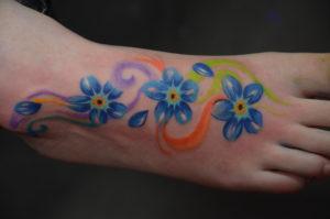 bloemen op voet