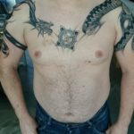 Draak en slang op bovenarm en borst
