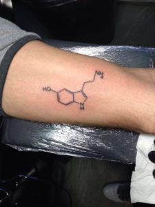 Natuurkundige formule op onderarm