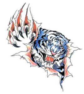 Cartoon afbeelding van een tijger met daarbij een 3d effect