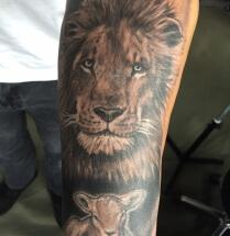 Leeuw met lammetje op onderarm