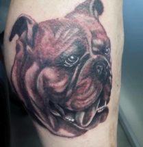 Honden portret op onderbeen