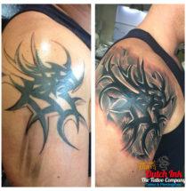 Tribal cover-up op bovenarm