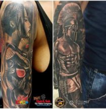 Samurai en Spartaan op arm