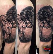 Twee leeuwen op bovenarm