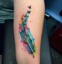 Veer met vlinders op onderarm