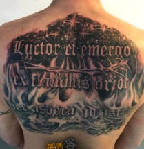 Tekst in backpiece