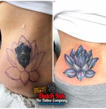 Lotus coverup op buik
