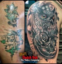 Uil Cover up tattoo op bovenarm